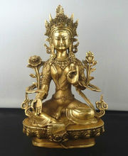 Arte e Mestieri di Rame Exquisite Tibetano Buddismo Brass Tara Verde Dio Dea Kwan-yin Buddha Statue Scultura