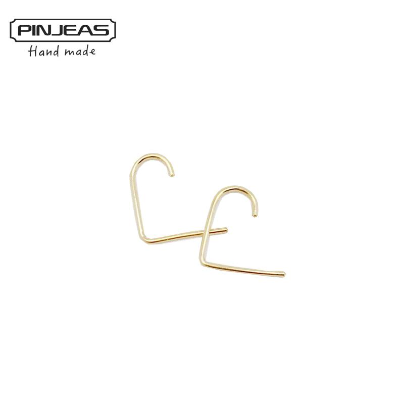 Тонкие закругленная подвеска PINJEAS, серьги-пусеты ручной работы с простой крючком, минималистичные манжеты для женщин и девушек