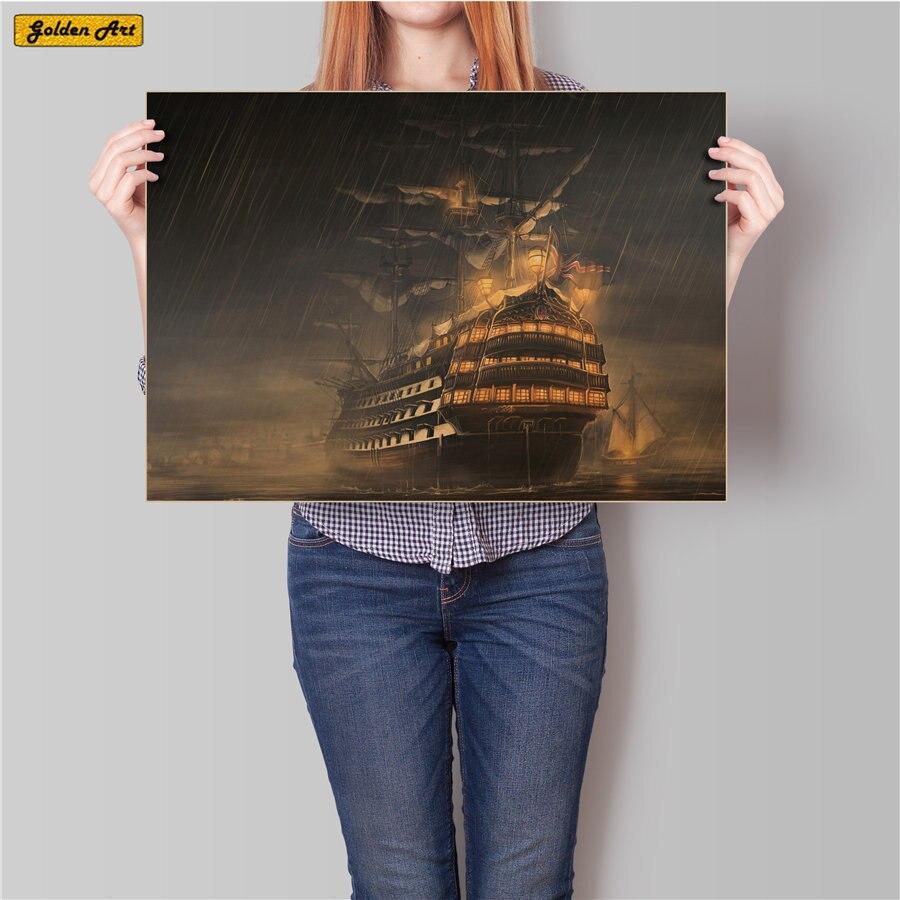 Velero en barco en la tormenta papel kraft clásico cartel clásico retro pared arte papel pintado Café bar 45,5x31,5 cm