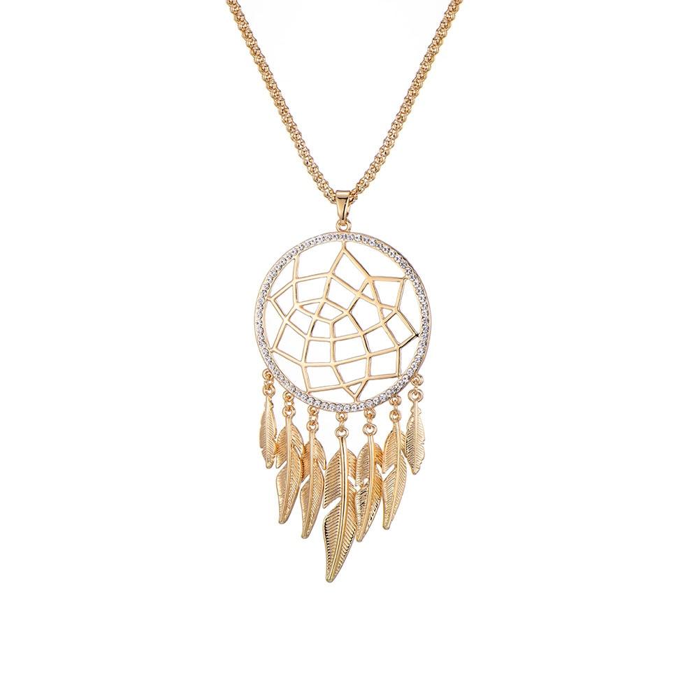 Colar de pingente pegador de sonho, grande, oco de ouro, jóias, colar de cristal para mulheres, gargantilha, presente, collier 2019, atacado