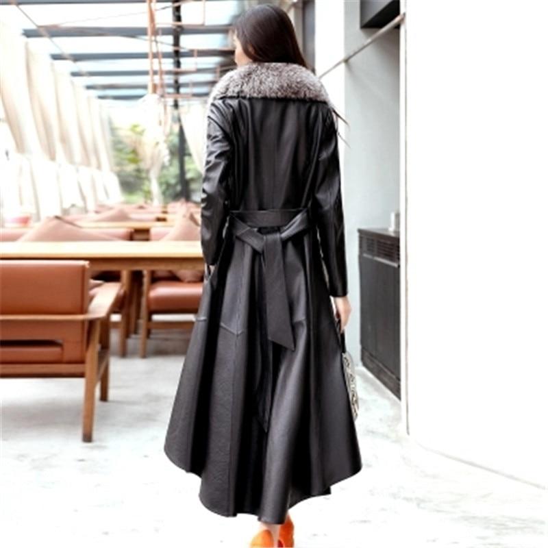 Leather Female 2020 New Winter New Leather Long Coat Fashion Slim Big Fox fur Mao Lingjun Green Women's Leather Clothing D461 enlarge