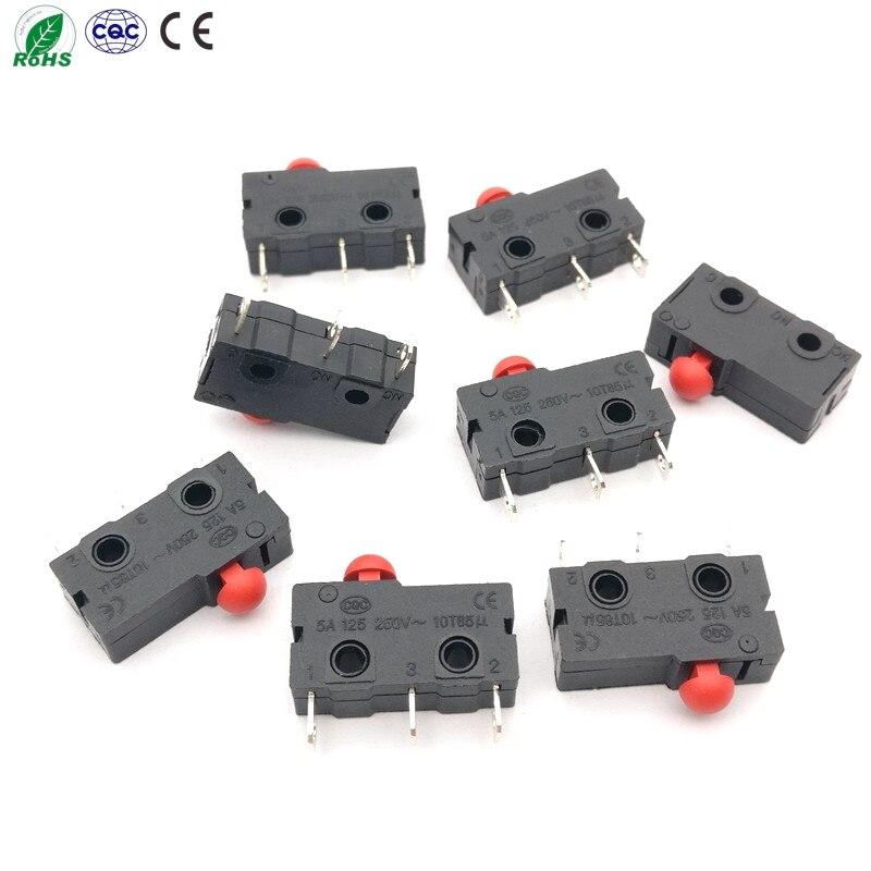 50 unids/lote microinterruptor de cabeza de hongo 5A125 250V 10T85