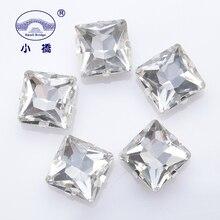 Piedra de cristal cuadrada brillante para ropa, gemas sueltas Diy manualidades planas, cristal decorativo para coser en piedra con garra 10 Uds S072