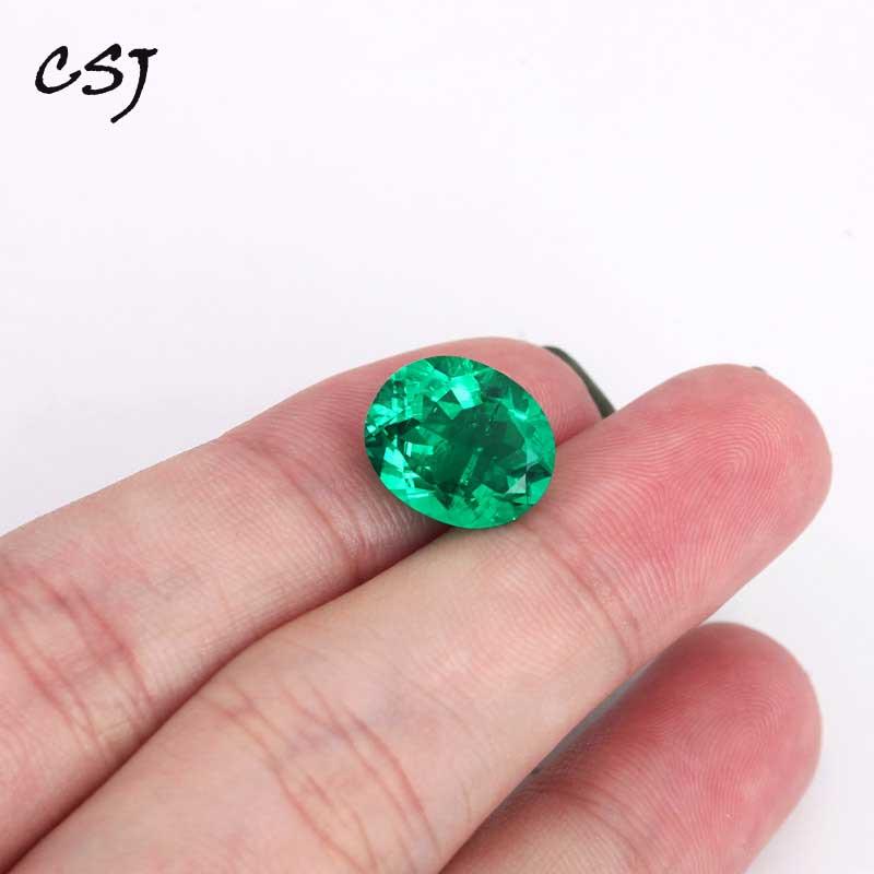 """CSJ Lab creado Esmeralda colombiana """"CCE"""" piedra preciosa de corte ovalado suelta para anillo de joyería fina"""