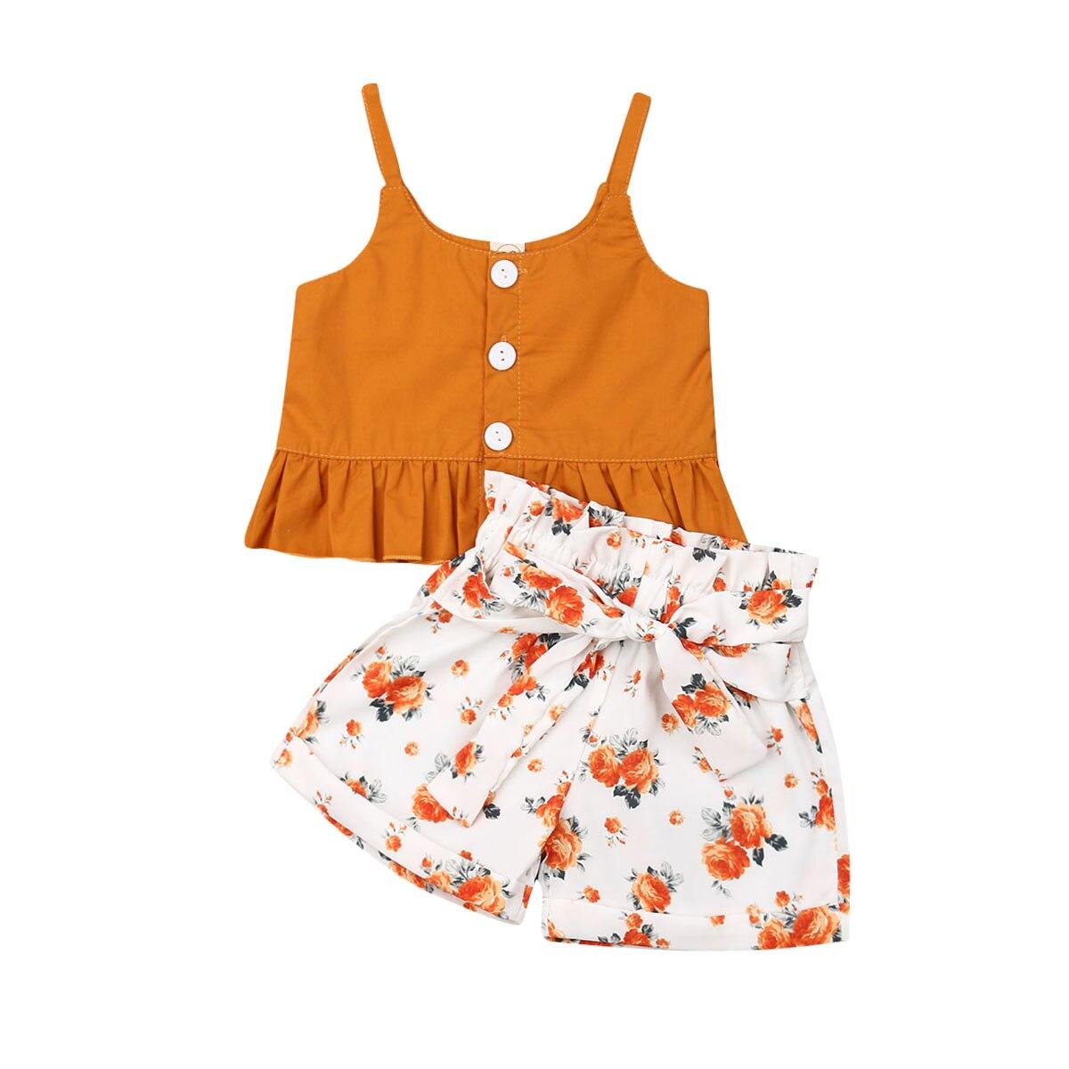 2019 verano lindo niño pequeño chico niña Sling sin mangas volantes Tops + Pantalones cortos florales pantalones 2 uds trajes ropa verano