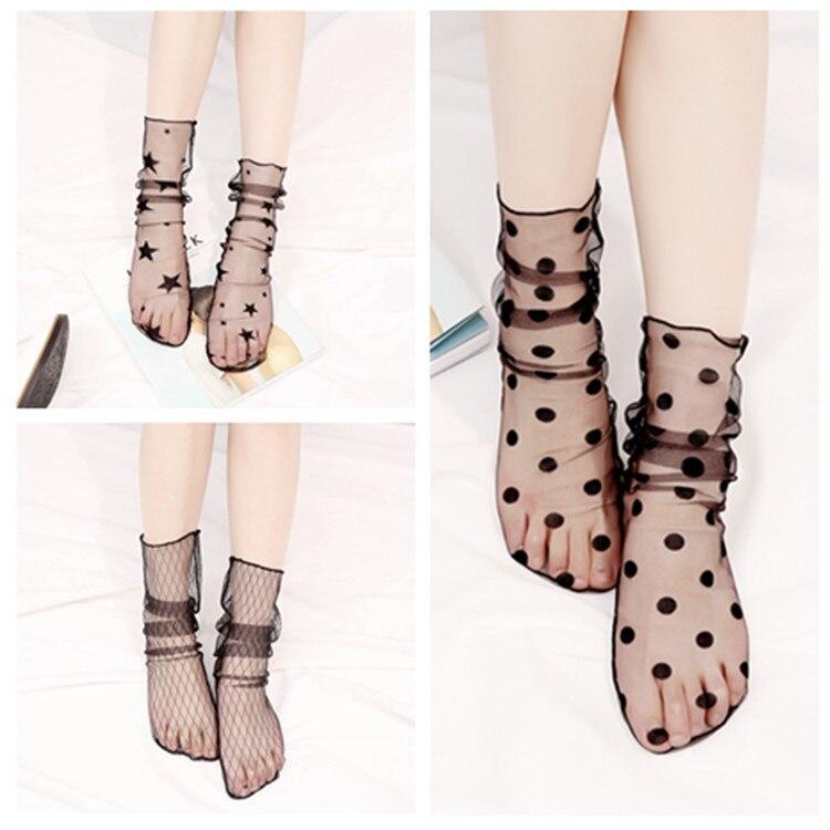 Nuevos calcetines transparentes ultrafinos de verano para mujer, calcetines cortos elásticos brillantes con hermoso lazo de seda y cristal brillante