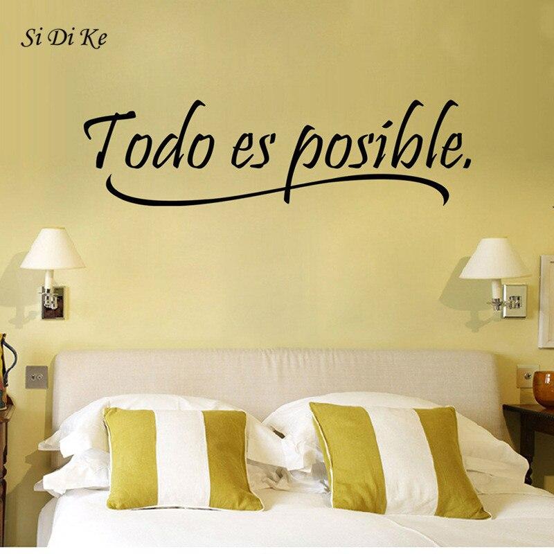 Si di ke tudo é possível citação motivacional espanhol removível vinil arte da parede adesivo decoração da parede do escritório em casa