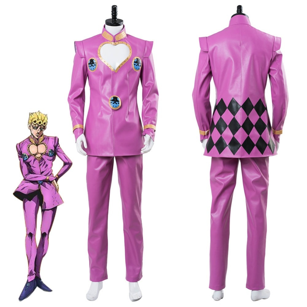Anime jojo bizarro aventura vento dourado cosplay giorno giovanna cosplay traje terno rosa uniforme halloween carnaval feito