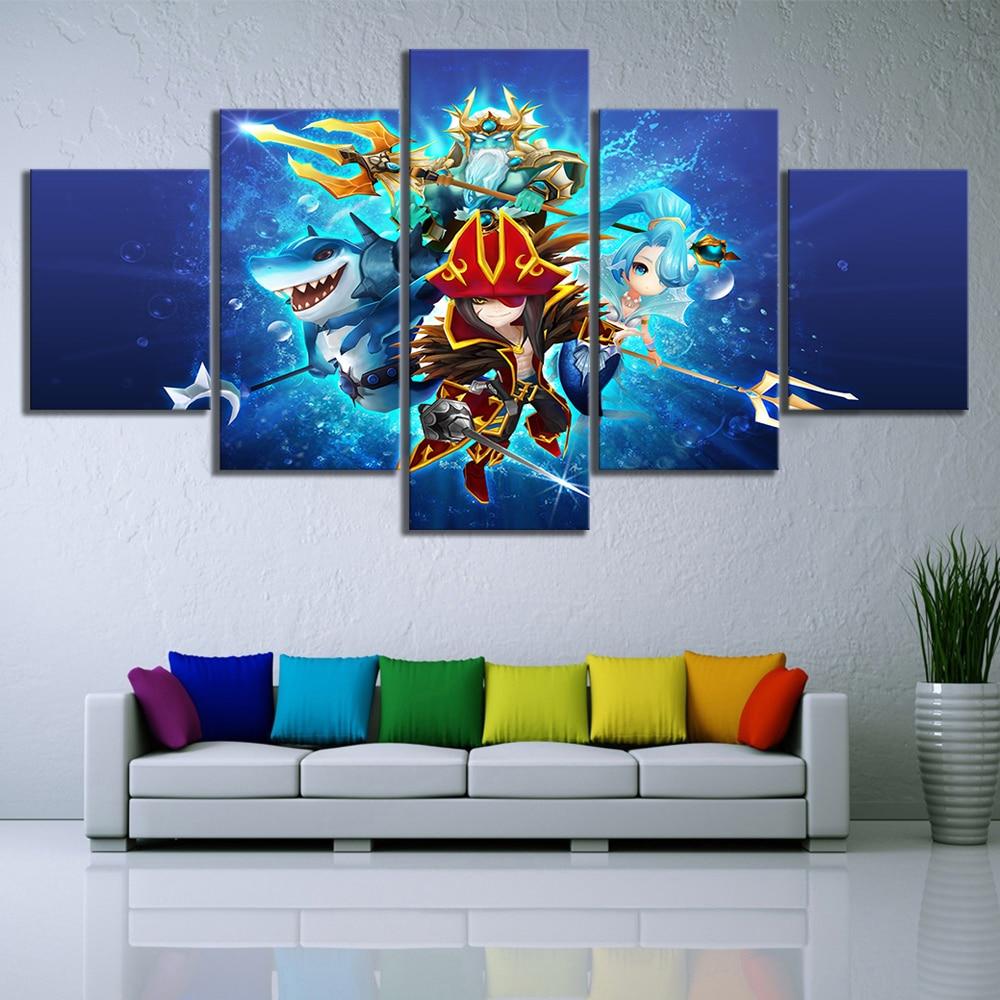 5 piezas de dibujos animados de juegos de cartas, carteles de Arena de cielo de guerra, lienzo, pinturas de pared artística para decoración del hogar