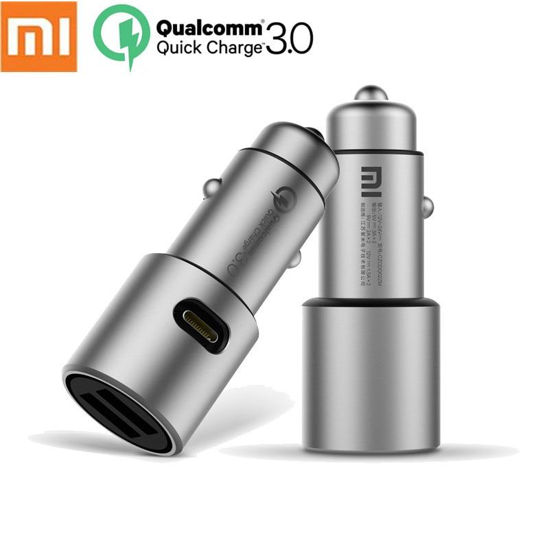 100% Original Xiao mi Auto Ladegerät Schnell Ladung Dual USB Quick Charge QC 3,0 Dual USB Max 5 V/ 3A Metall Für Xiao mi iPhone Samsung