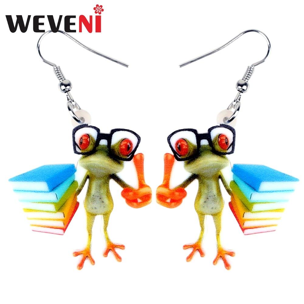 WEVENI acrylique dessin animé enseignant grenouille boucles doreilles pendaison pendante à la mode mignon Animal bijoux pour femmes filles fête cadeau amoureux des animaux breloques