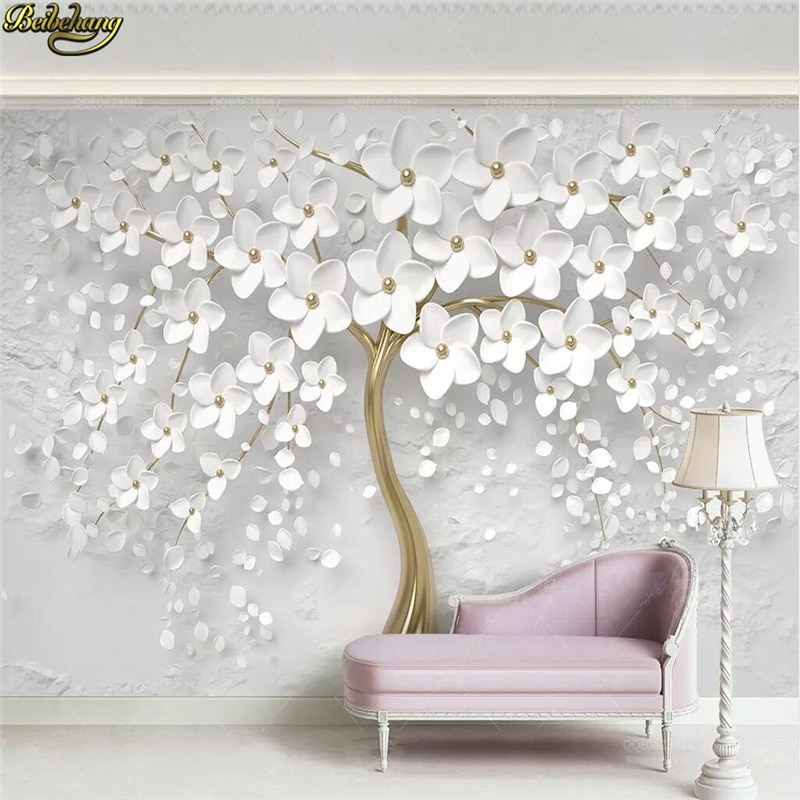 beibehang embossed magnolia pearl nordic jewelry wall papers home decor 3d flooring wallpaper for living room home improvement beibehang Custom 3d wallpaper mural beautiful wedding room white flowers 3d embossed TV background wall papers home decor