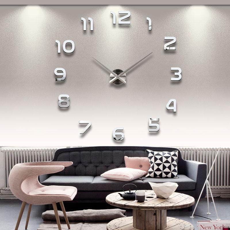 2017 Бесплатная Доставка Новый Часы Часы Настенные Часы Horloge 3d Diy Акриловое Зеркало Наклейки Украшения Дома Гостиная Кварцевые Иглы