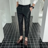 new striped casual formal mens long thin nine pants slim feet trend wild handsome male chinese style black gray