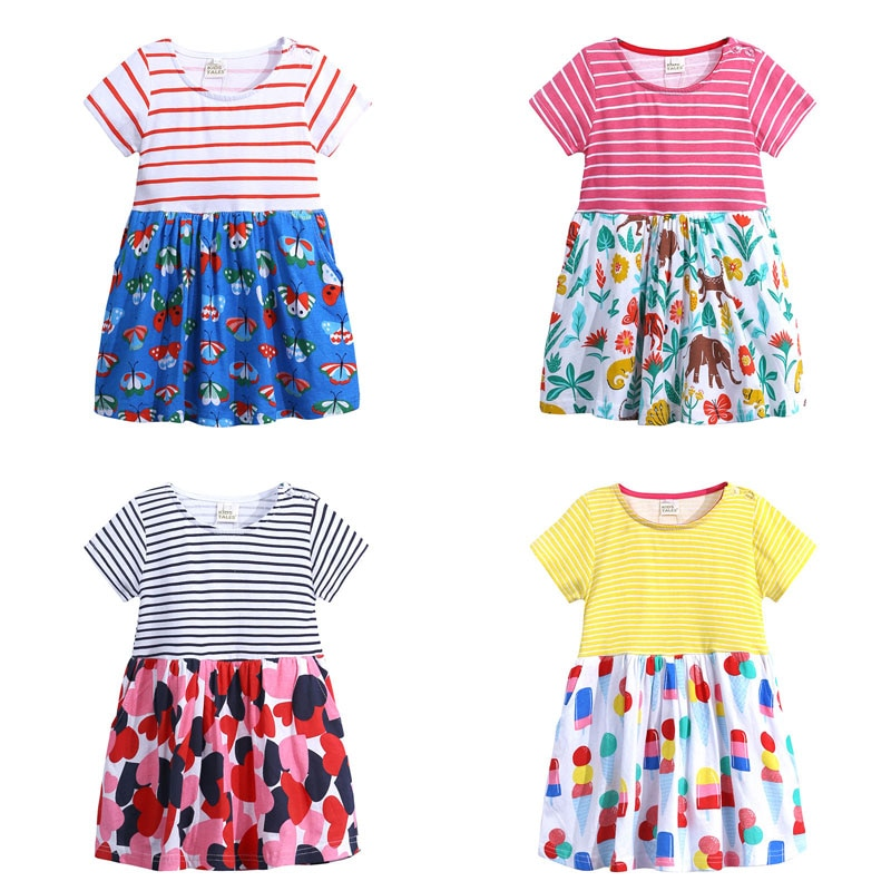 Vestido Elvesnest de dibujos animados para niñas, vestido de algodón de manga corta, vestidos de niño niña, ropa de verano para niños