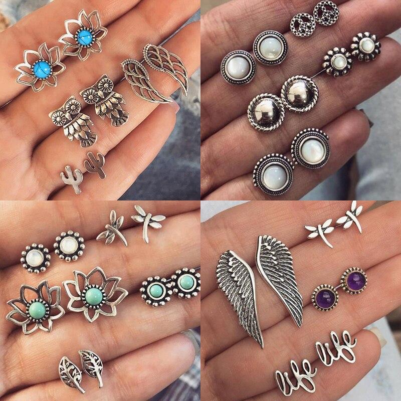 New 4 Pairs/Set Owl Wings Lotus Cactus Stud Earring Set for Women Jewelry Antique Metal Blue Turquoises Stud Earrings Set