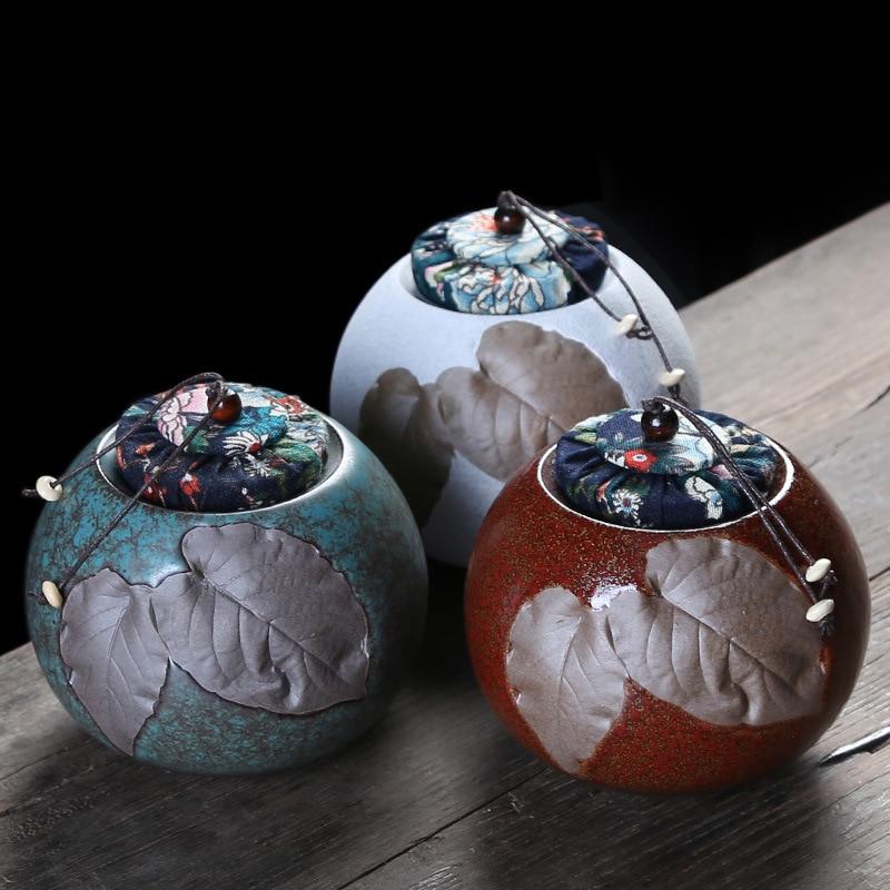 Chinese Style Teaware Container Tea Jar Storage Coffee Powder Organizer Cans Ceramics Tea Caddies Round Retro Tea Box For Home