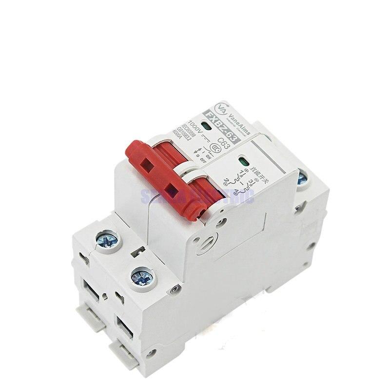 2P DC 1000V Солнечный мини выключатель 6A/10A/16A/20A/25A/32A/40A/50A/63A DC MCB для PV