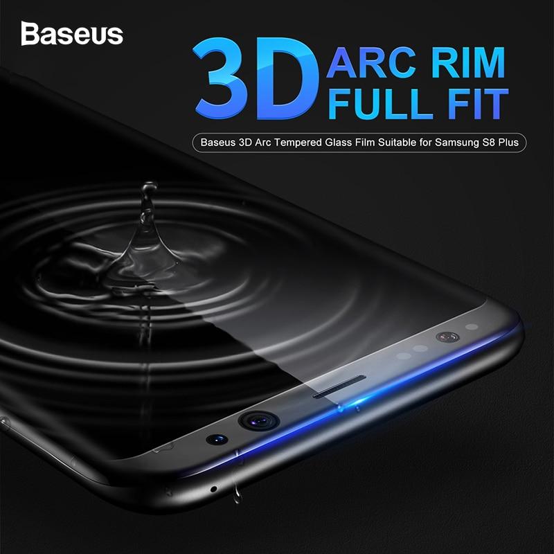 Baseus Protector de pantalla para Samsung Galaxy S8 3D arco de vidrio de película para Samsung Galaxy S8 más cobertura completa de templado de vidrio de película