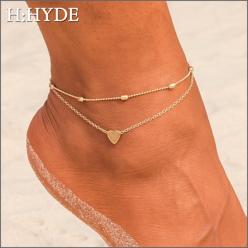 H:HYDE Simple Heart Female Anklets Barefoot Crochet Sandals Foot Jewelry Leg Anklets On Foot Chain Ankle Bracelets For Women
