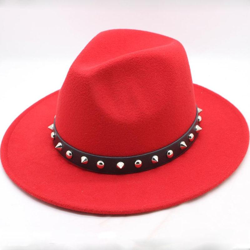 Lana de ala ancha sombrero puro sombrero bombín de fieltro cúpula sombrero para las mujeres de estilo británico femenino Jazz Iglesia Vintage sombrero de fieltro para hombre