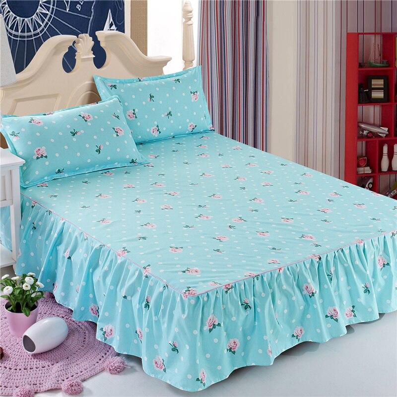 Colcha de falda de cama sábanas coreanas ajustadas 1,8/1,5/1,2 metros