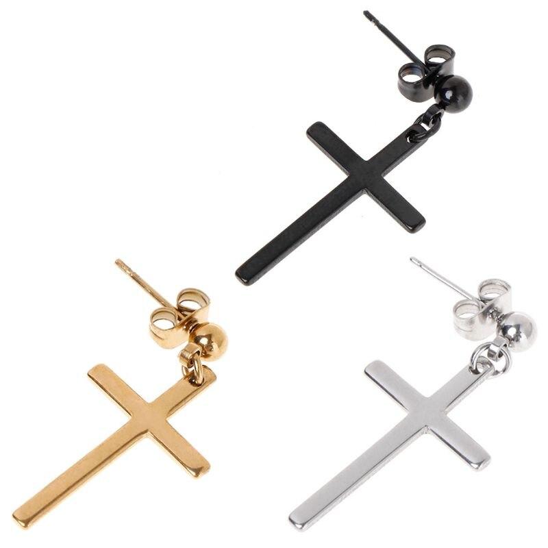 1 ud. De pendientes elegantes con Cruz colgante para hombre y mujer, joyería de moda para regalo, abalorio dorado estilo coreano/negro
