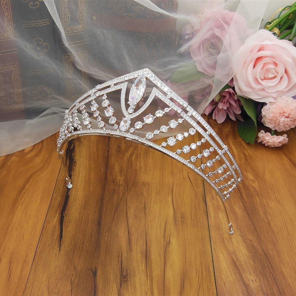 Tiara de boda grande, diadema con corona, tiaras de Novia CZ y...