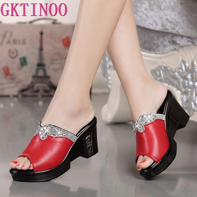 GKTINOO/новые женские сандалии из натуральной кожи, шлепанцы на толстых каблуках, женские летние туфли на танкетке, женские шлепанцы