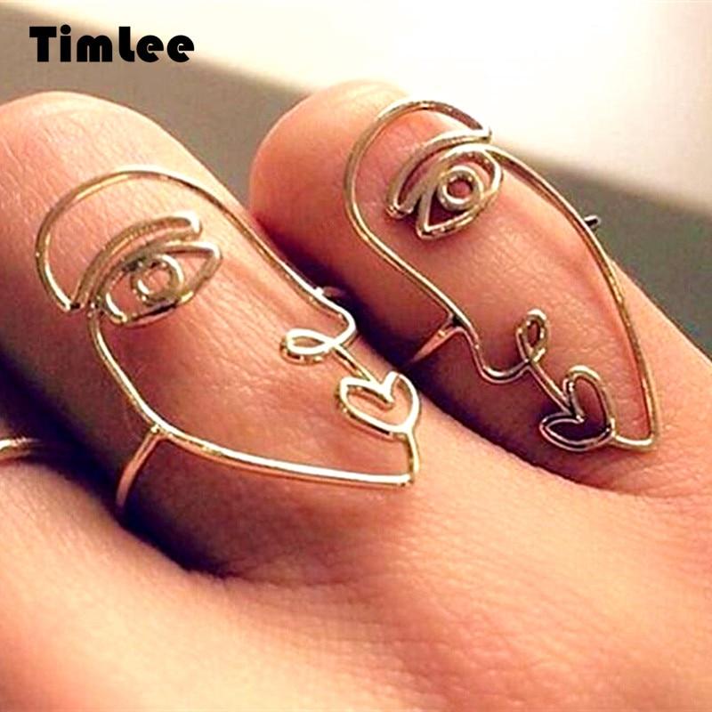 Timlee R032, conjunto de anillos de dedo con personalidad de aleación de Facebook, creatividad a la moda, envío gratis, 2 unids/set al por mayor.