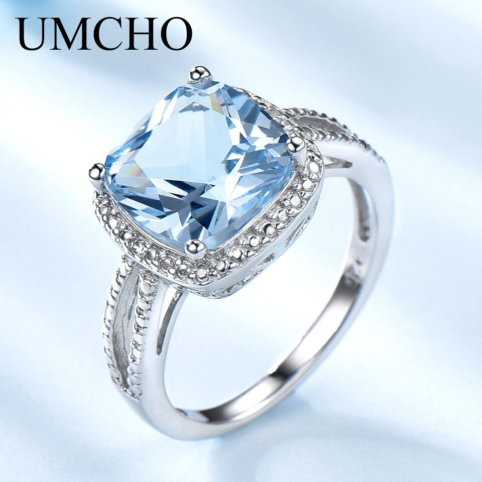 UMCHO 925 anillos de plata esterlina Real para las mujeres gema aguamarina cielo Topacio Azul anillo cojín regalo romántico joyería de compromiso