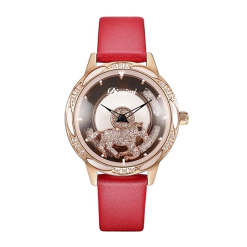 Fashion Revolving Dial Women Watches Rotate Horse Dress Watch Leather Band Ladies Quartz Wristwatch Clock Waterproof Gift