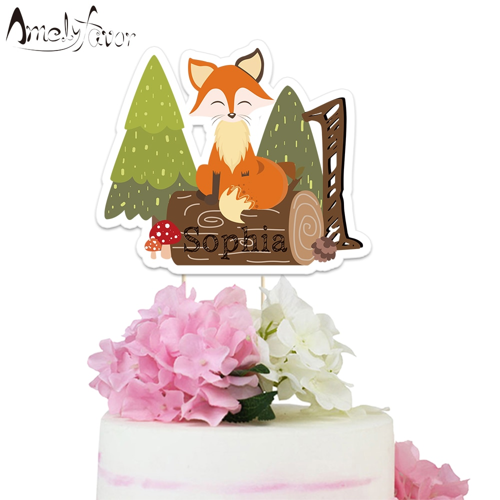 Лесные животные тема торт Топпер животное лиса бумажный Топпер на торт вечерние украшения принадлежности детский душ Детский день рождени...