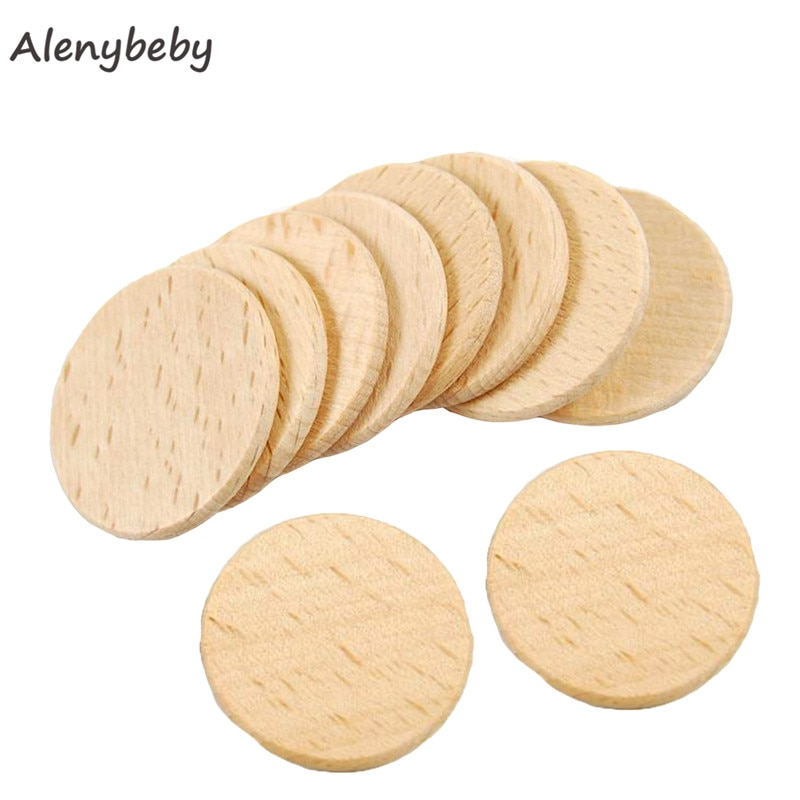 Custom logo Wood Discs Circles Teether 37mm Unfinished Beech Wood Slices DIY Wood Mat Pad Pattern Beads Making Care Baby Teether