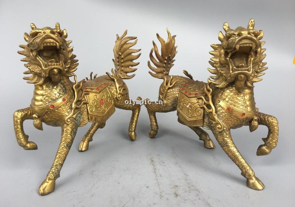 Par 9 latón folklórico de China fengshui animal plutus dragón bestia unicornio kylin