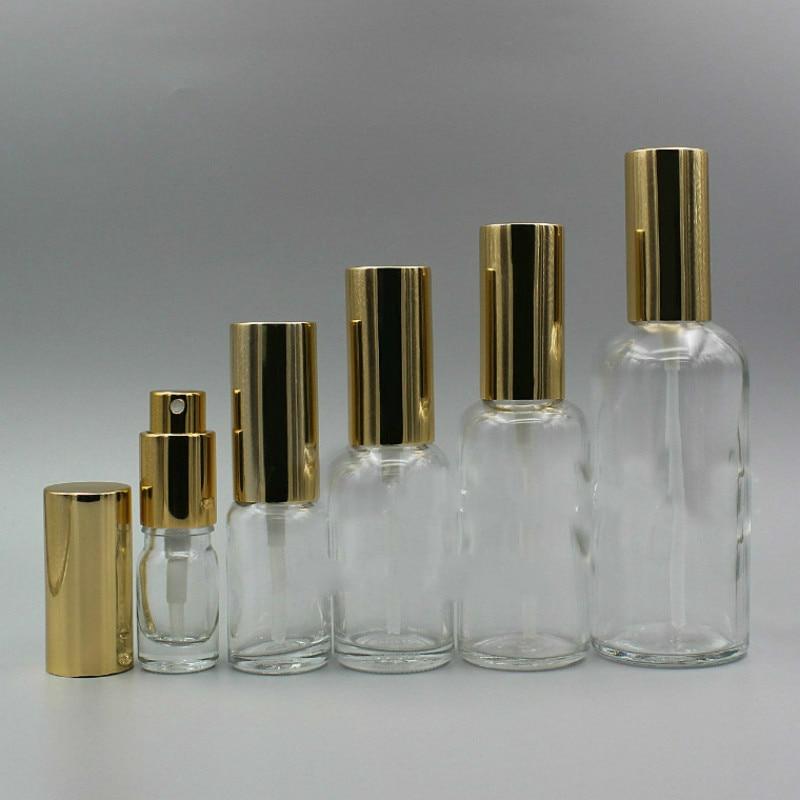 10 шт./лот, прозрачные стеклянные флаконы для лосьона и парфюмерии, бутылки для лосьона, золотой распылитель, косметическая упаковка, контейн...