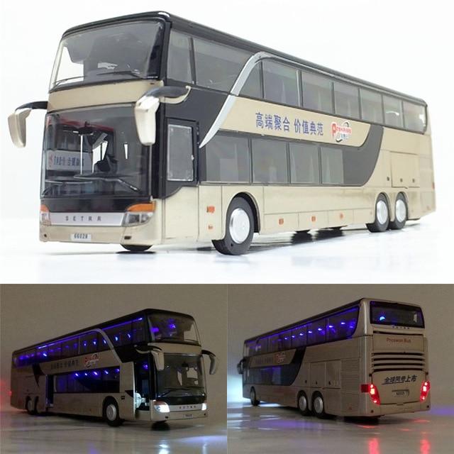 Bus en alliage 1:32 de haute qualité, bus de tourisme à Double sens, véhicule jouet, vente gratuite