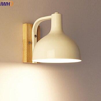 IWHD Nordic Modern LED Wall Light Fixtures Bedroom Wooden Wall Lights Sconce Beside Lamp Arandela Lamparas De Pared