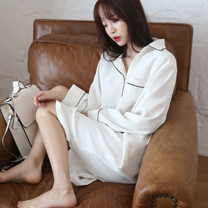 Pijama de primavera largo coreano suelto blanco vestido de tamaño camisa Sexy vestidos de manga larga falda femenina ropa de dormir Negligee Sleepshirts