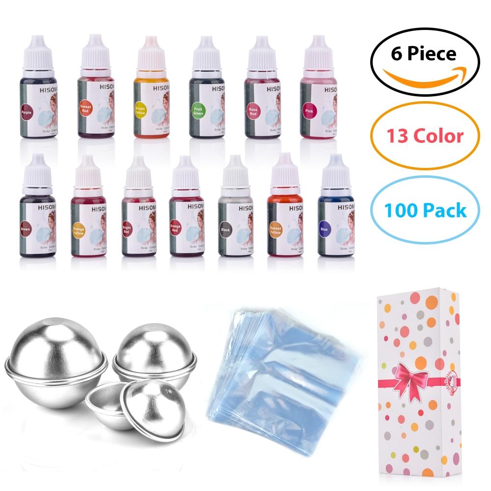 119 uds/set -- 13 colores de tinte de jabón líquido + 6 uds molde para bomba de baño + 100 Uds bolsas Opp bombas de baño líquido de grado alimenticio tinte DIY Kit de fabricación de jabón