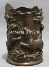 bir 001512 Chinese Bronze Carved Animals Fierce Tiger Pine Statue Brush Pot Pencil Vase