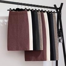 GIGOGOU 60-80CM bande élastique femmes jupes automne hiver chaud tricoté jupe droite côtelé côtelé mi-longue jupe noir