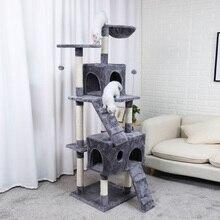 H173 cm Katze Springen Spielzeug Mit Leiter Großen-größe Katze Holz Kratzer Klettern Baum Katze Möbel Mit Hängematte Katze kratzen Post