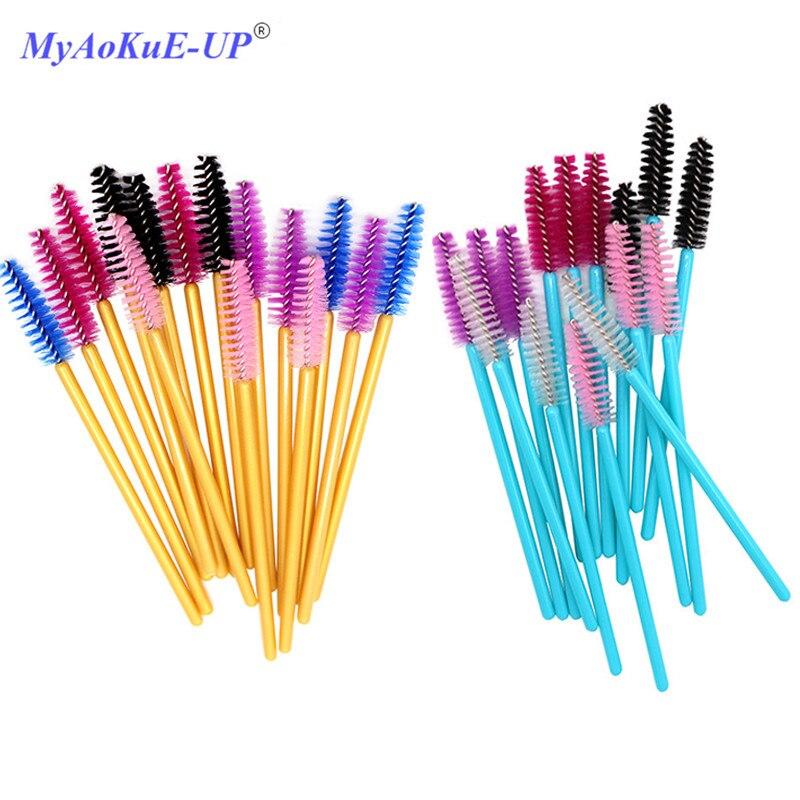 Одноразовая нейлоновая тушь для ресниц, 50 шт./лот, синие, золотые, розовые, красные кисти с ручкой, кисти для макияжа, инструменты для наращивания ресниц