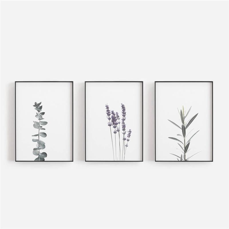 Watercolour Lavender Canvas Art Print And Poster , Botanical Canvas Painting Farmhouse Decor Eucalyptus Art Prints Wall Decor