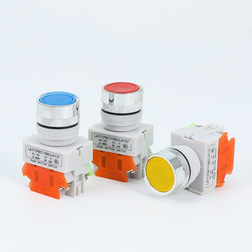 5pcs la38a 11bn quality sliver contact push button switch on off momentary latching 22mm white 1PCS LAY37 Latching Switch Sliver Contact Push Button Red Green Blue Yellow White Black 1NO 1NC Momentary Push button switches