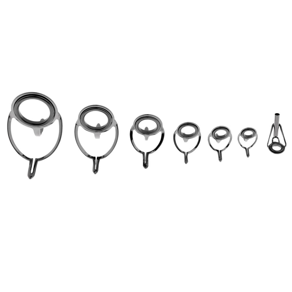 7 piezas de punta de guía de caña de pescar con ojal, herramienta de repuesto de punta de repuesto para reparación de caña de pescar