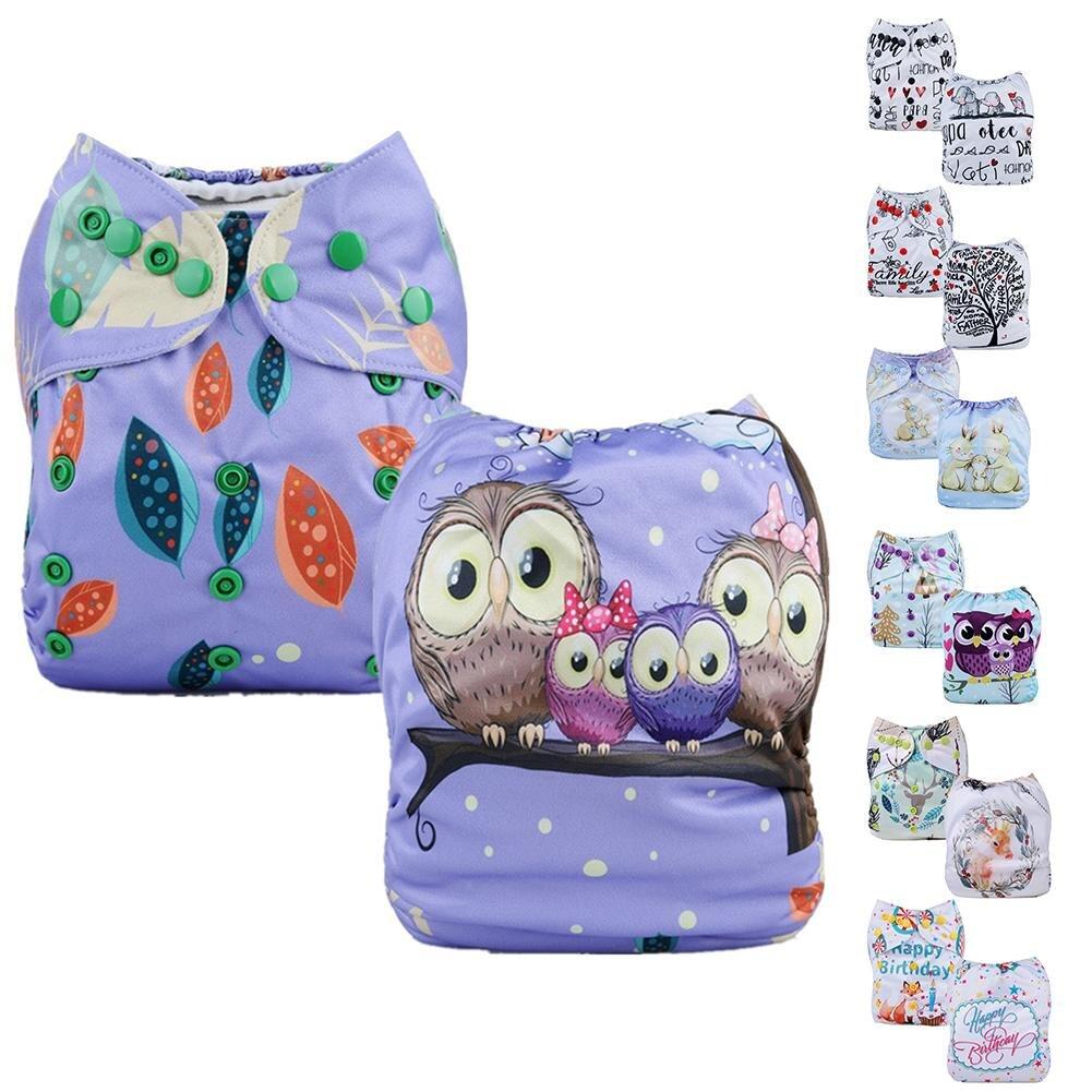 Pañal de tela lavable con estampado bonito, pañal ajustable, pañales de tela reutilizables para bebé de 3-15kg