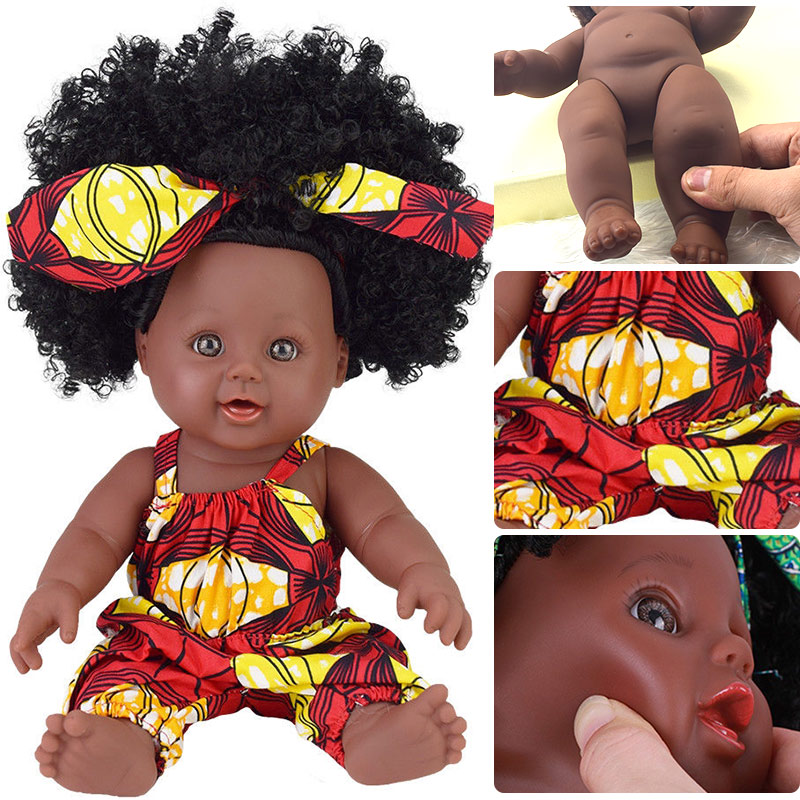 Lindo cabello. Muñeca renacido boneca pop muñecas para niñas recién nacido negro muñecas de silicona Rapunzel bebé vivo juguete chica chico poupee