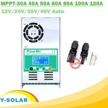 MPPT 120A 80A 60A 40A contrôleur de Charge solaire   Régulateur solaire LCD rétro-éclairé 12V 24V 36V 48V Auto pour connecteur acide et Lithium